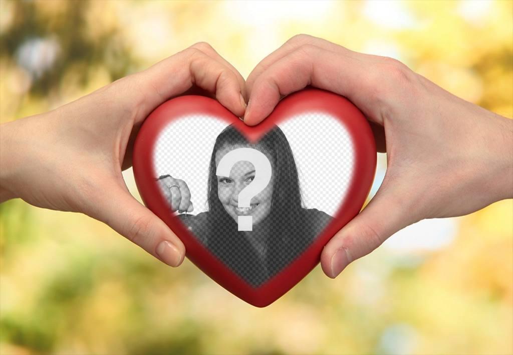Fotomontaje de dos manos con un corazón para tu foto