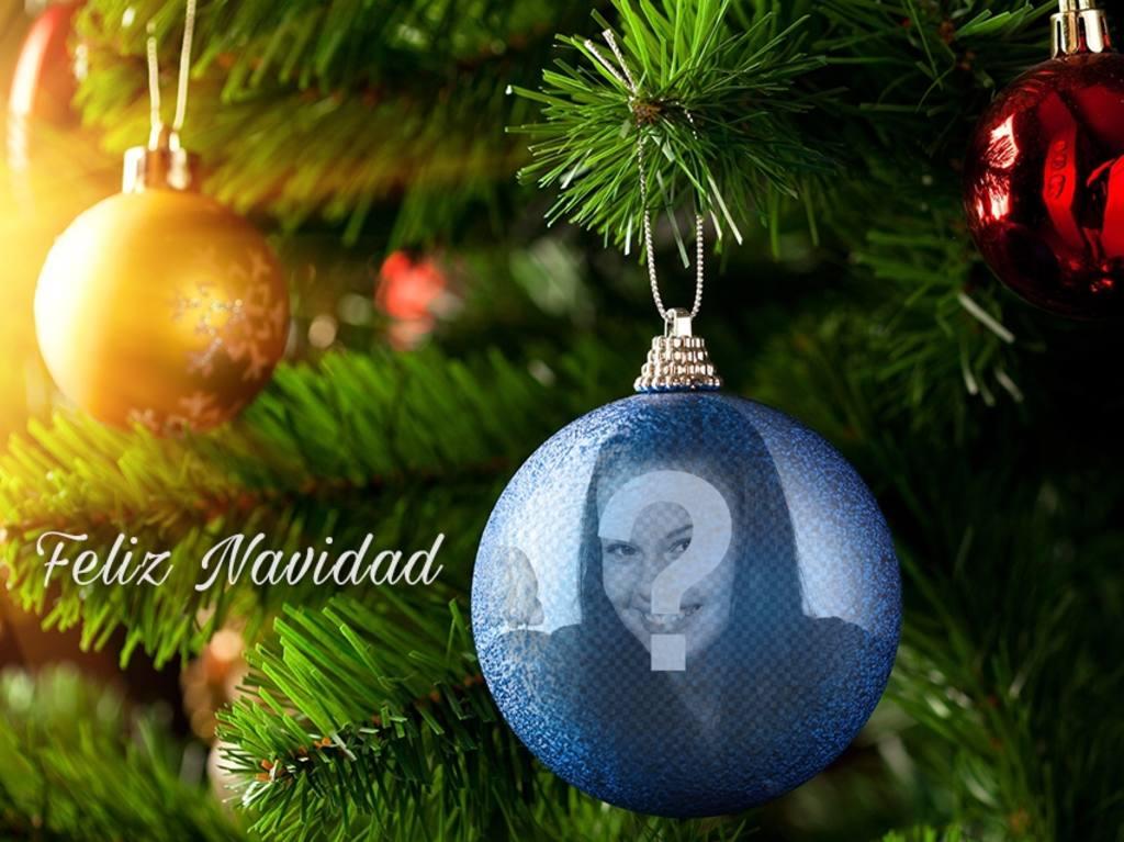 Montajes De Felicitaciones De Navidad.Fotomontaje De Navidad De Una Bola Azul Para Ponerle Tu Foto