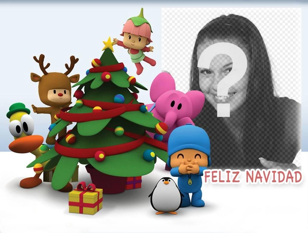 pocoyo celebra navidad fotomontaje foto