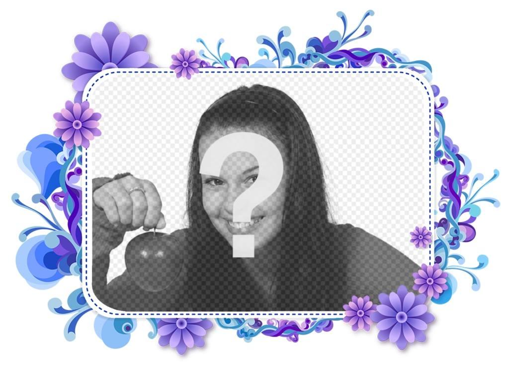 Marco para tu foto de flores violetas y azules fotoefectos - Marcos de fotos de pared ...