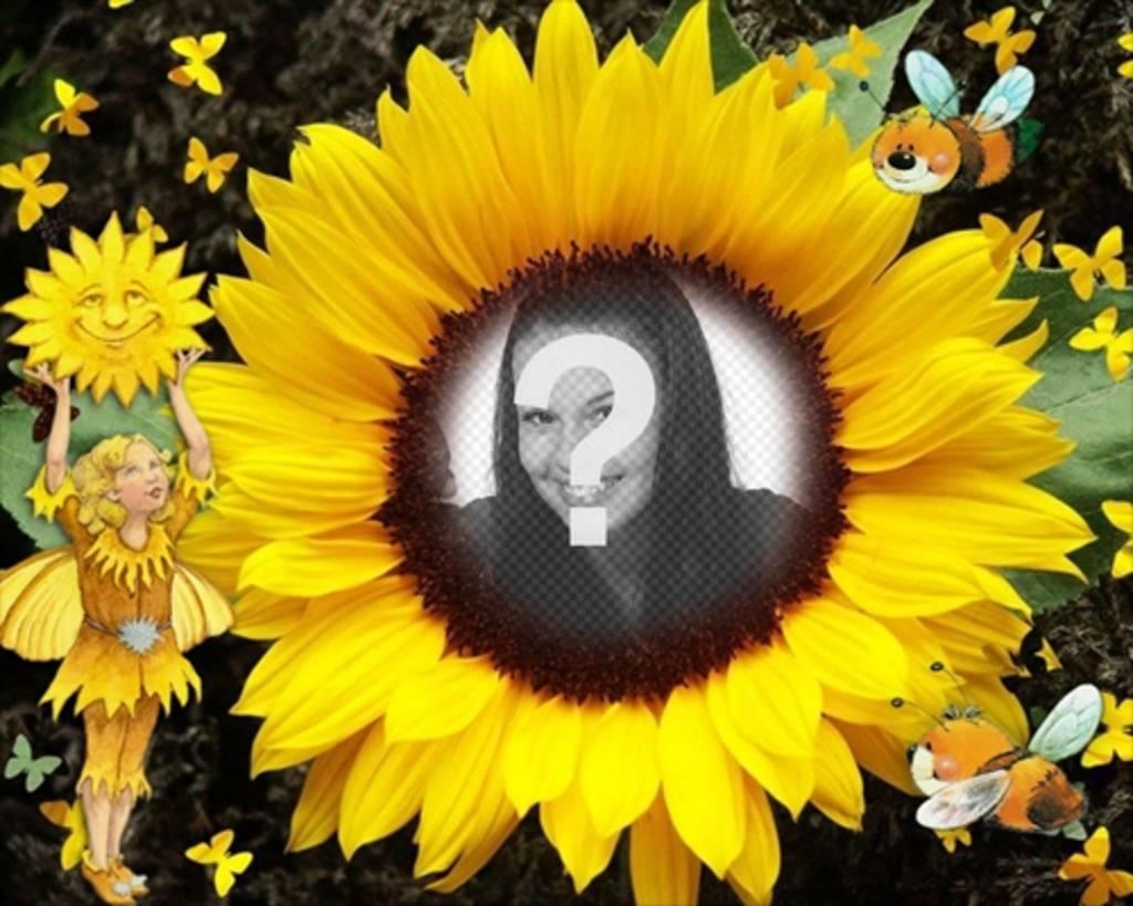 Marco para fotos en forma de girasol. Para personalizar con tu foto ...