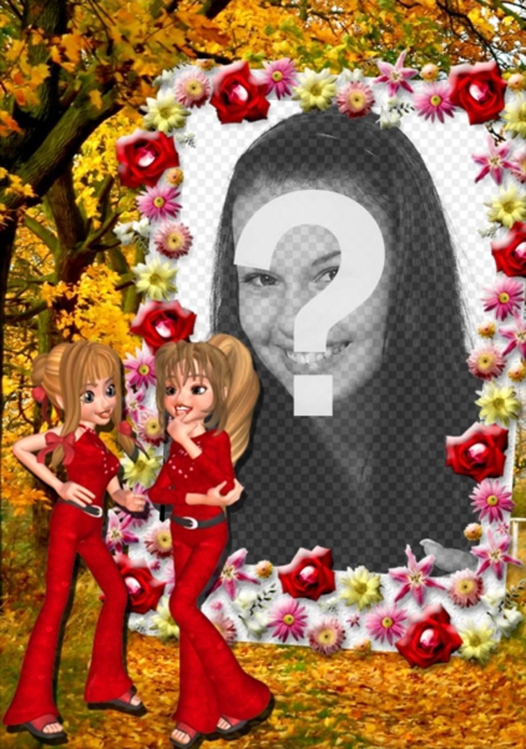 marco online fotos amigas hablando borde flores personalizable foto