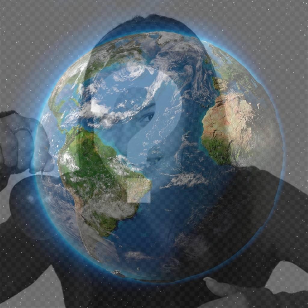 fotomontaje planeta tierra poner foto perfil