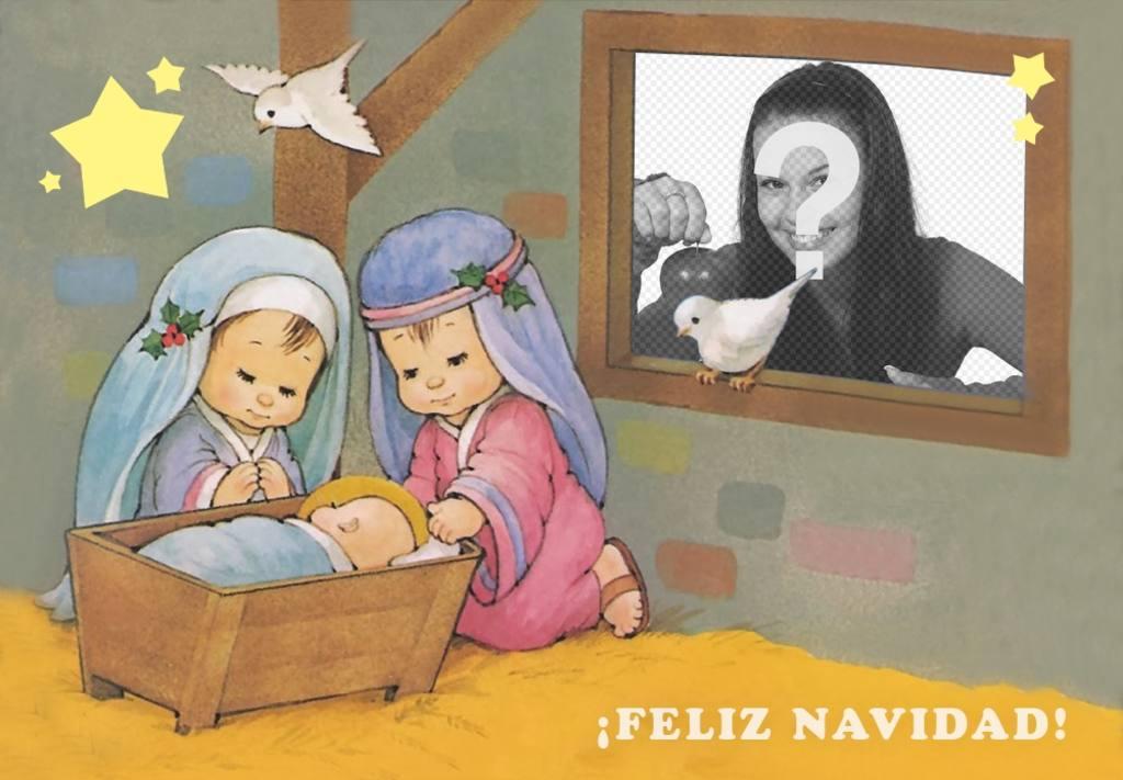 tarjeta navidad pesebre subir foto