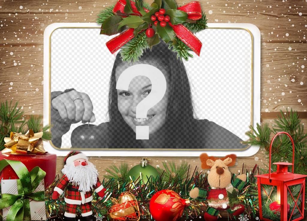 Fotomontaje con adornos de Navidad para subir tu foto Fotoefectos