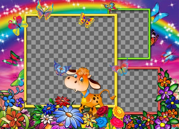 marco fotos3 fotos fondo arcoiris  flores vaca feliz