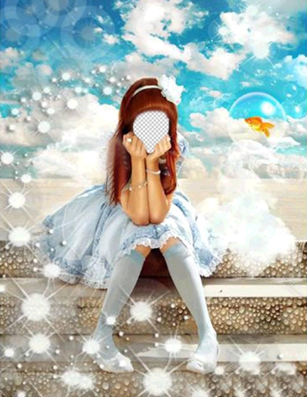 Fotomontajes con vestido azul