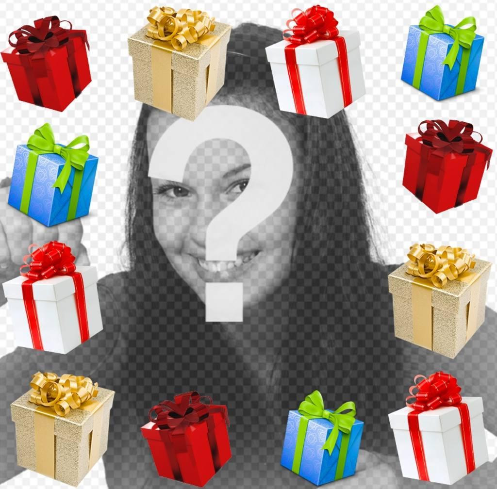 Fotomontaje de un marco de regalos para tu foto