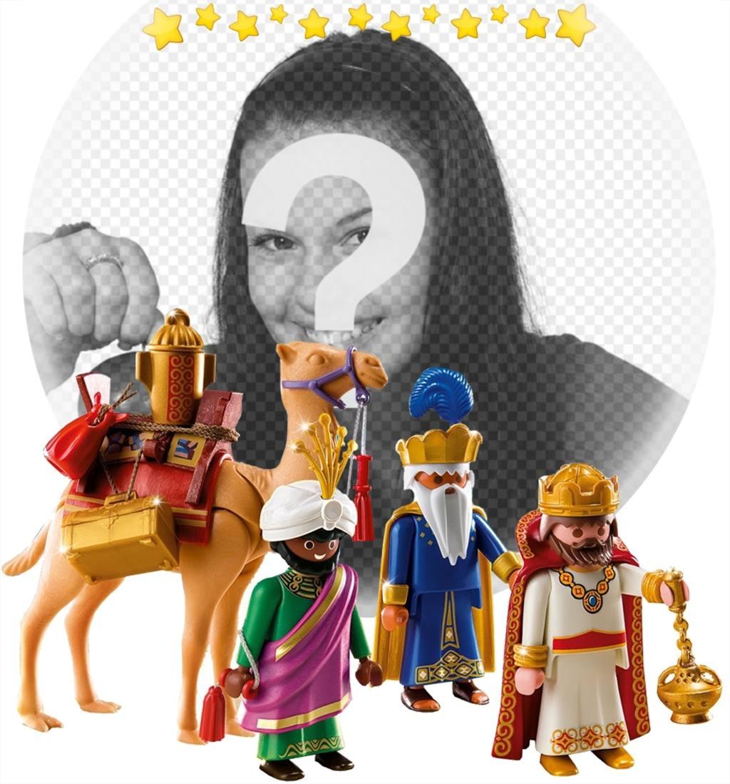 fotomontaje reyes magos playmobil foto