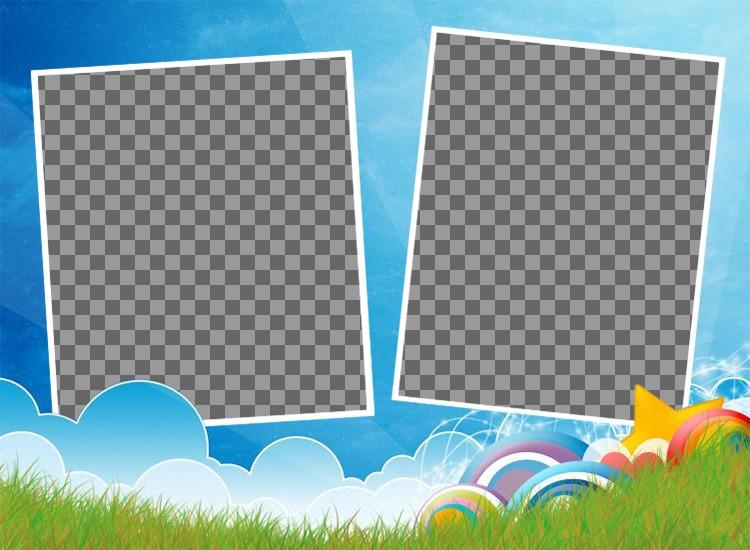 Collage infantil para dos fotos con un paisaje y colores
