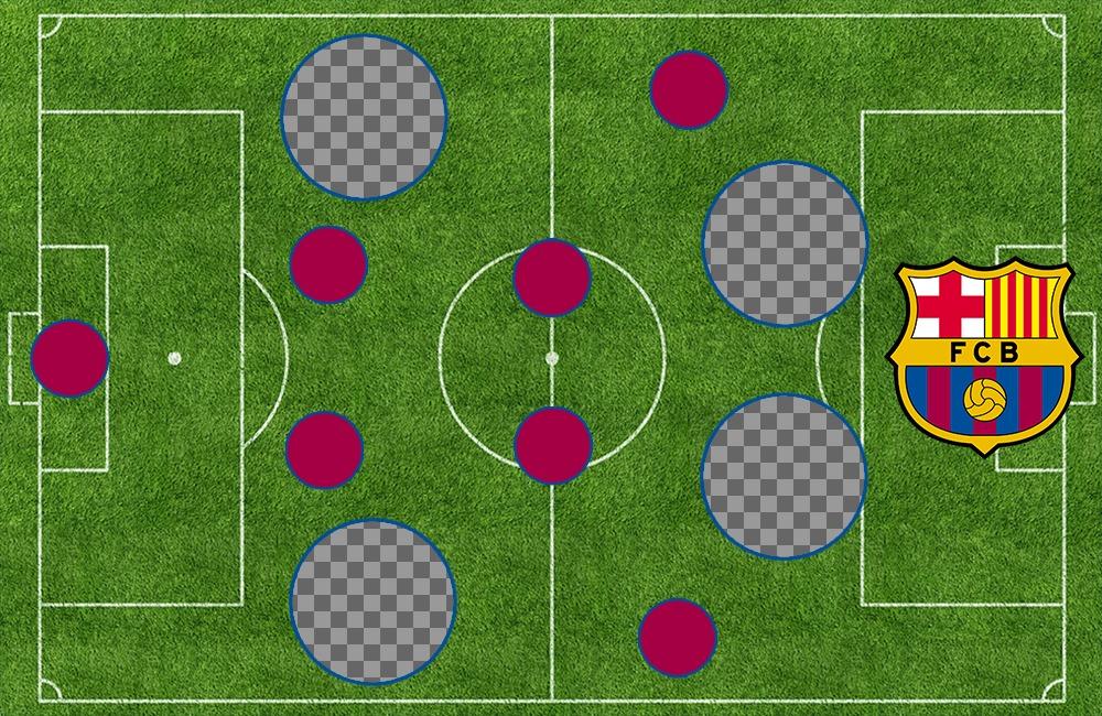 Alineación del FC Barcelona en el campo para subir 4 fotos