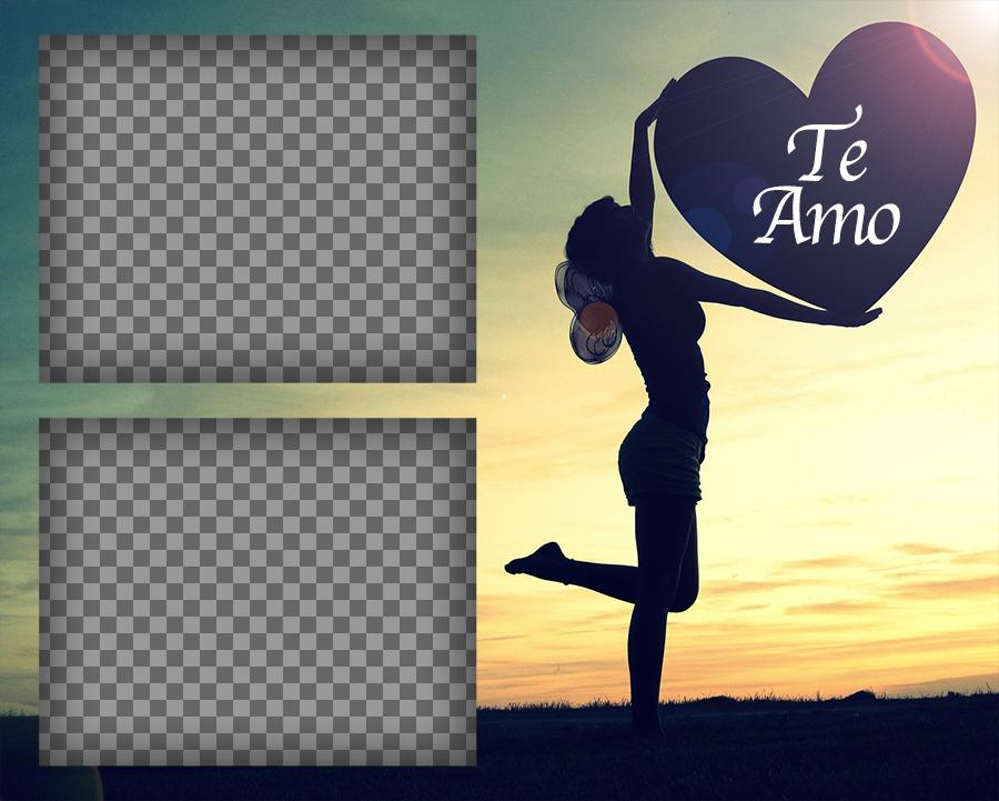 Fotomontaje de Amor para dos fotos con la frase TE AMO