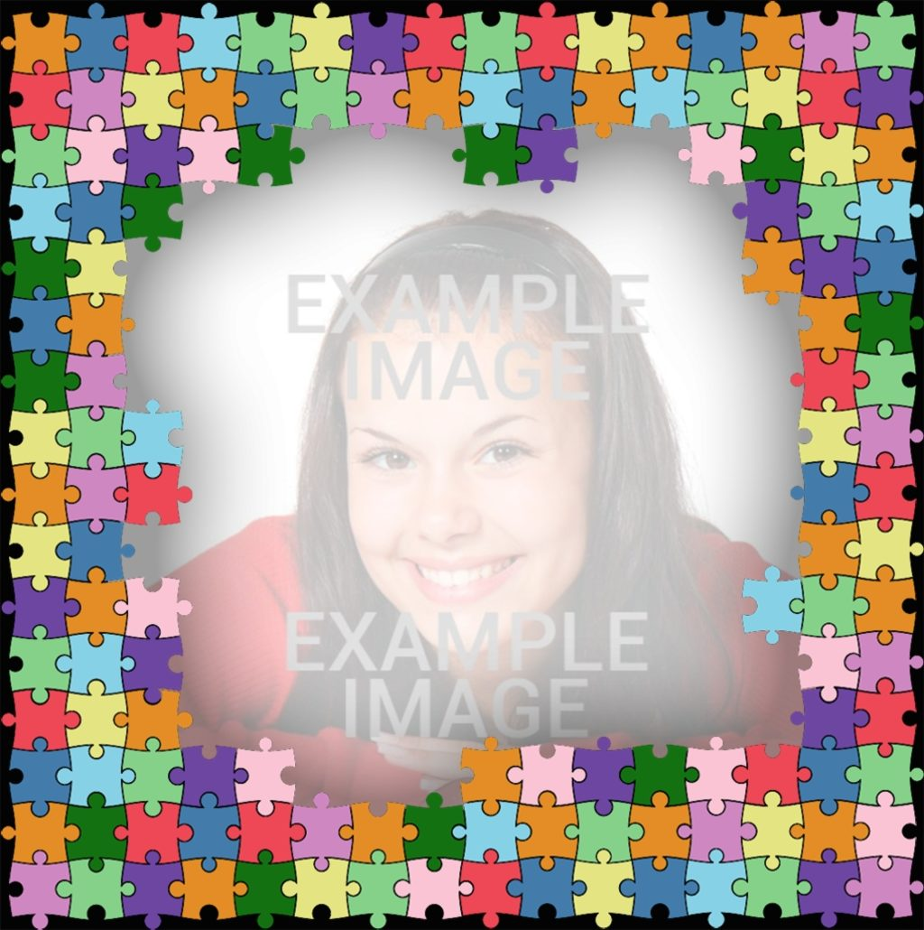 Colorido marco hecho de puzzles para decorar tu foto - Fotoefectos