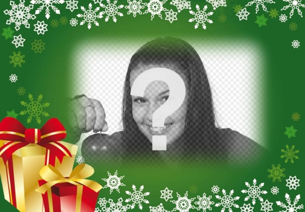 Postal navidad fondo verde con regalos para poner tu foto - Colocar fotos en pared ...