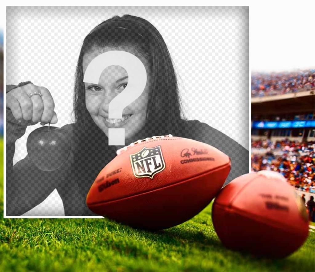 Edita este fotomontaje de un balón de fútbol americano de la NFL