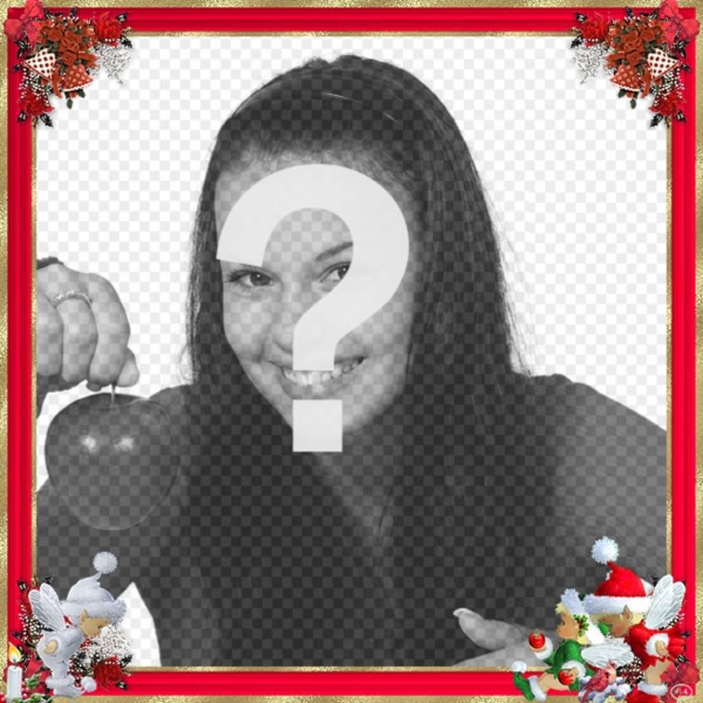 Marco de fotos para navidad, borde rojo con adornos de navidad. La puedes usar como felicitación