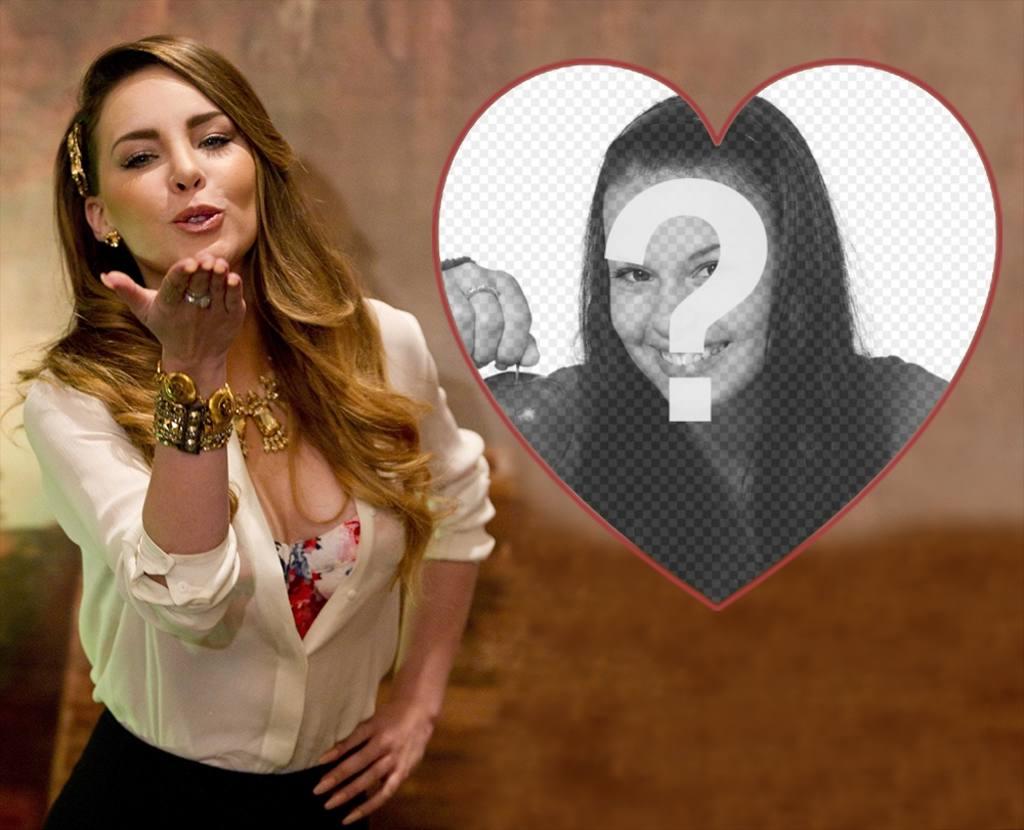 Fotomontaje con la cantante Belinda lanzando un beso