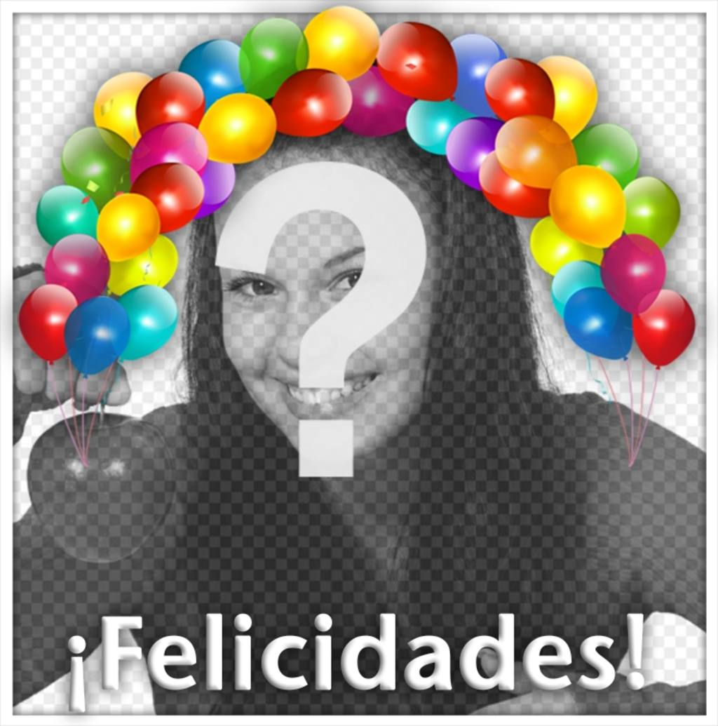 Coloridos globos con la palabra FELICIDADES para editar