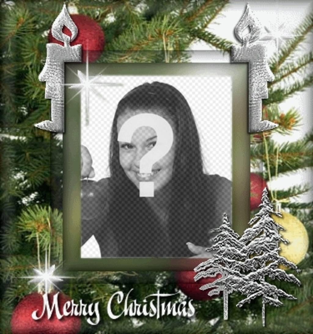 postal navidad personalizable foto fondo arbol navidad animacion