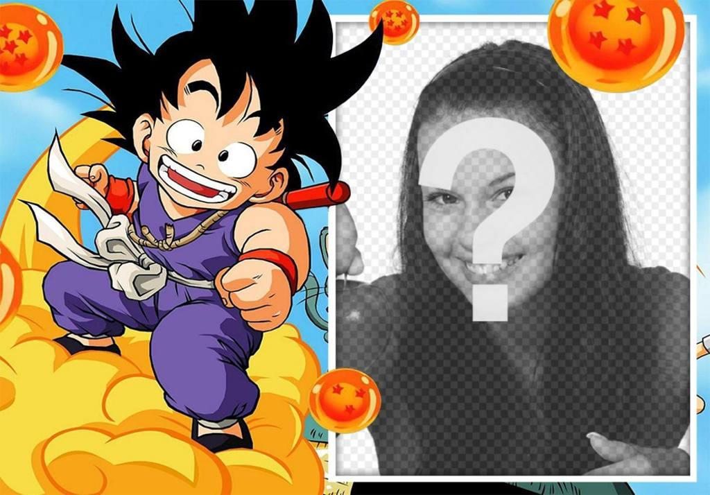 El pequeño Goku volando en su nube para decorar tus fotos