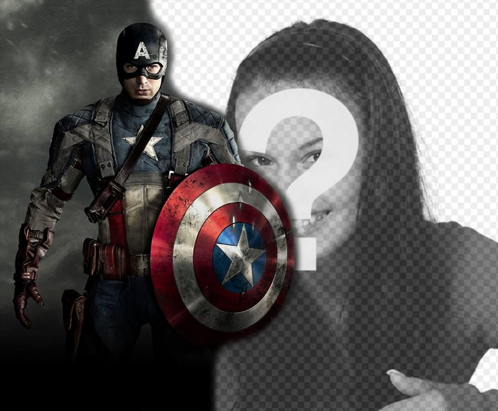 Sube tu foto con el héroe Capitán América y gratis