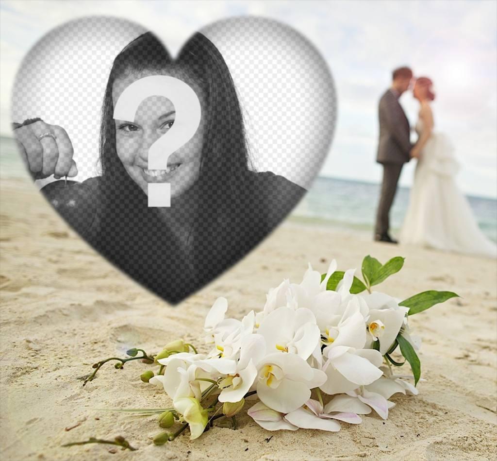 Editable marco de amor con dos novios en la playa para tu foto ...