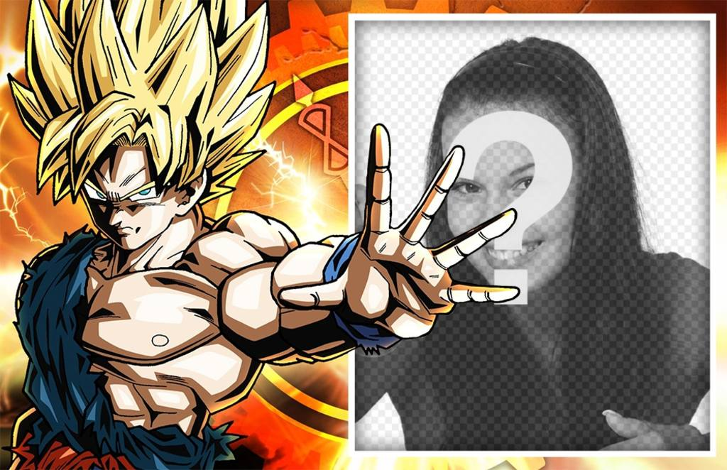 Fotomontaje con Goku en super sayayin para editar con una foto
