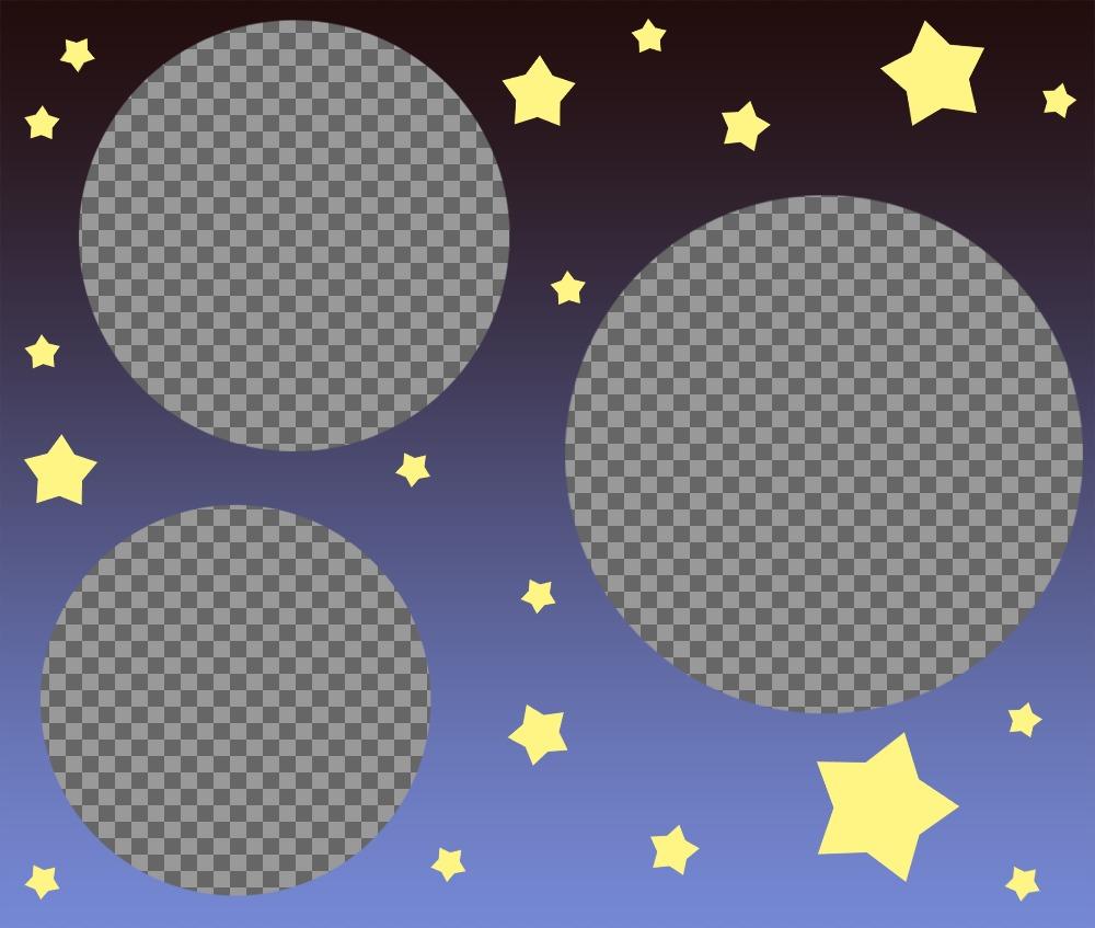 Collage especial para subir tres fotos decorado con estrellas