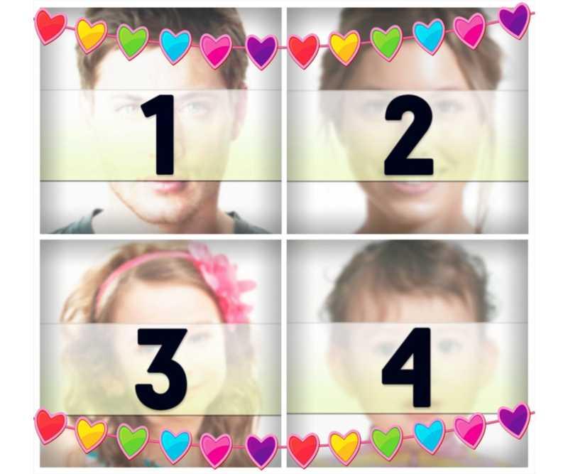 Collage online con corazones de colores para subir cuatro fotos gratis