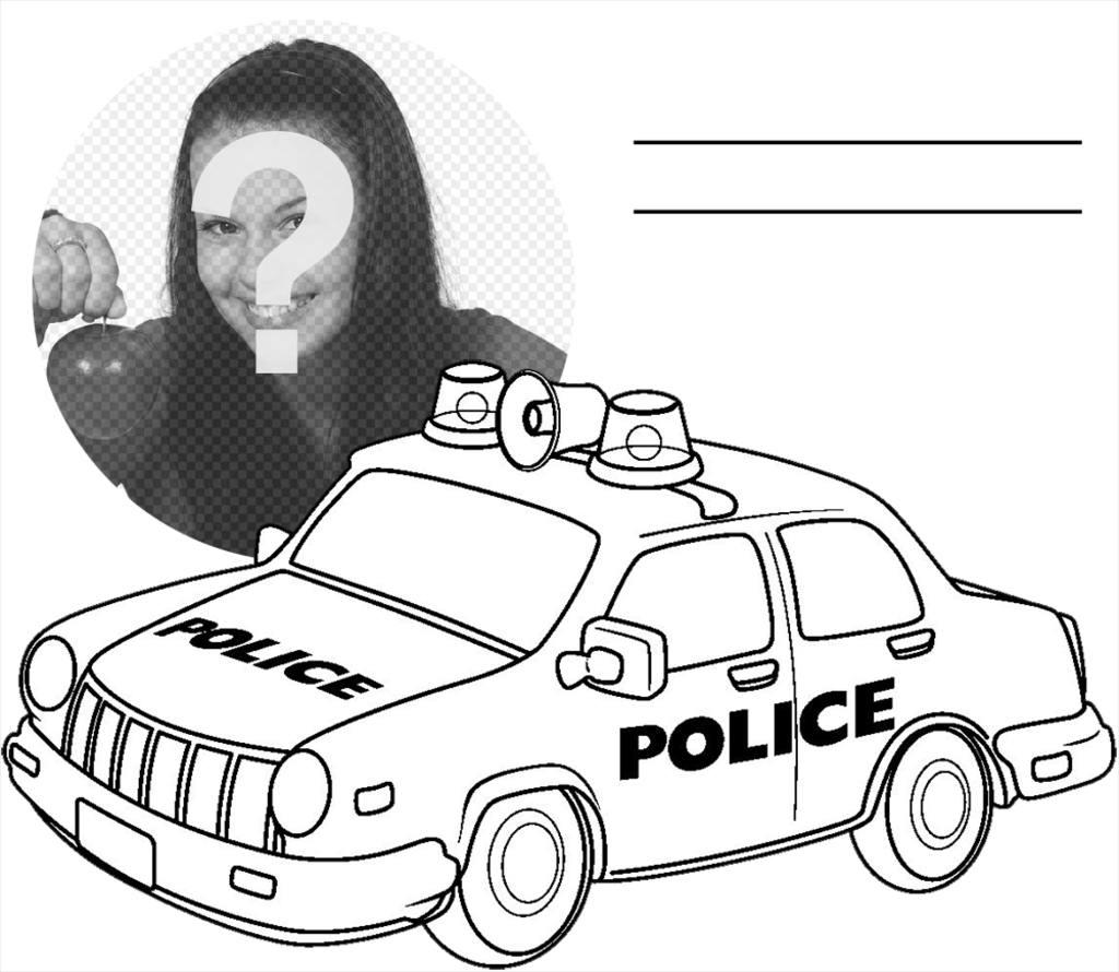 Fotomontaje para imprimir y colorear un carro de policía gratis ...