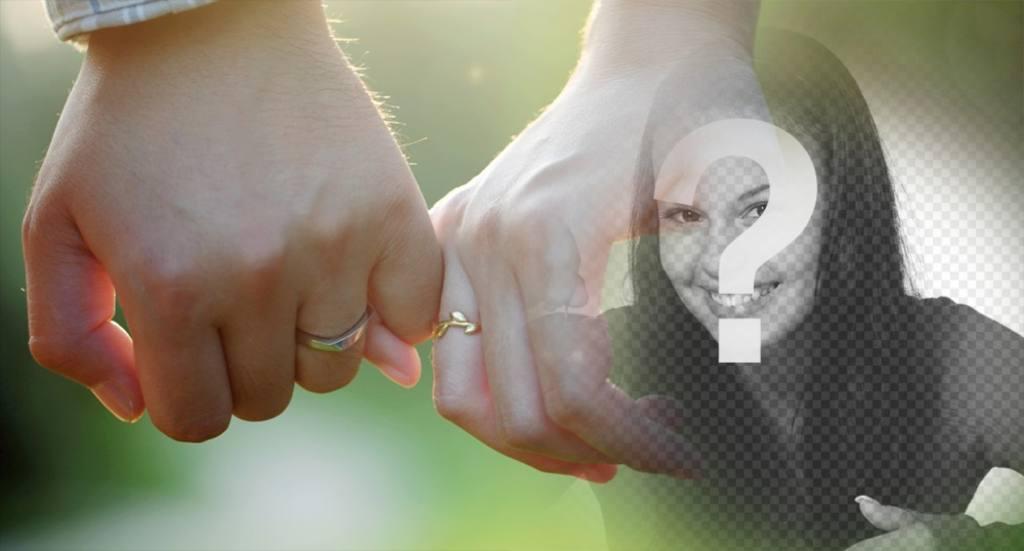 fotomontaje editable pareja tomada mano anillos