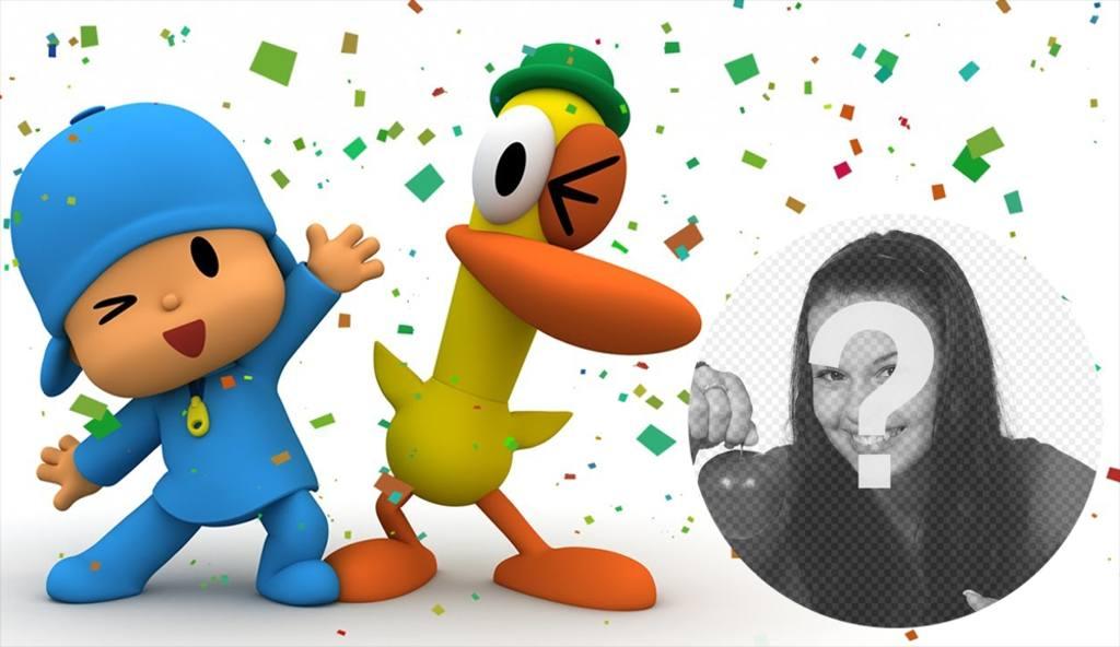 pocoyo pato divertida fiesta puedes poner foto