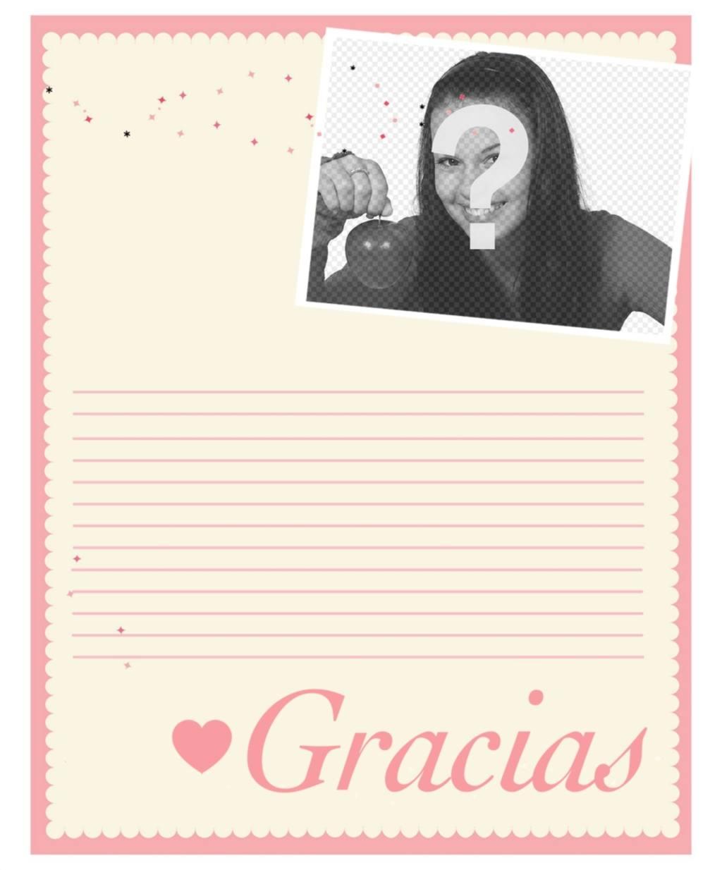 carta agradecimiento editar anadir foto online