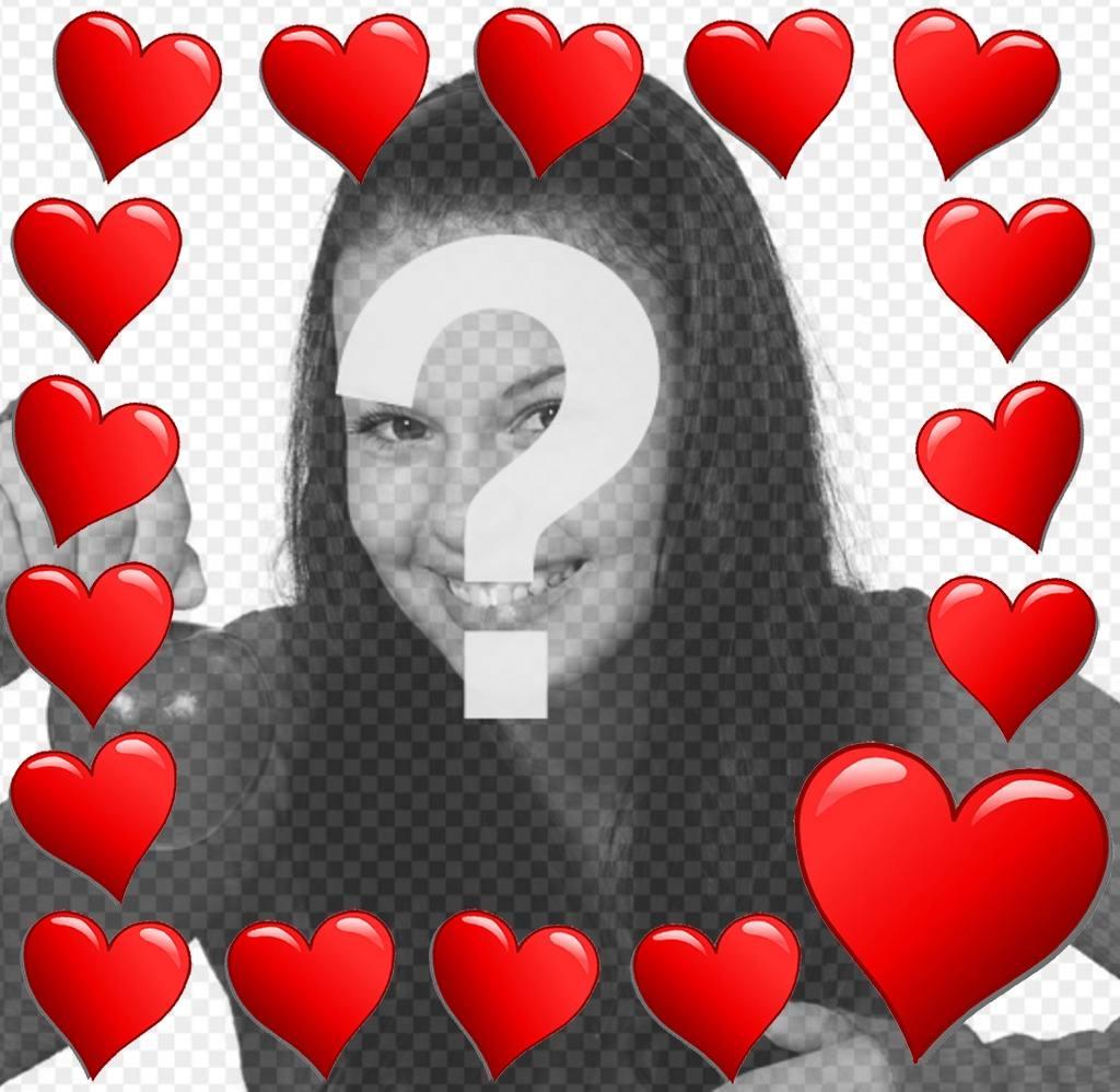 corazones rodeando foto marco romantico editar