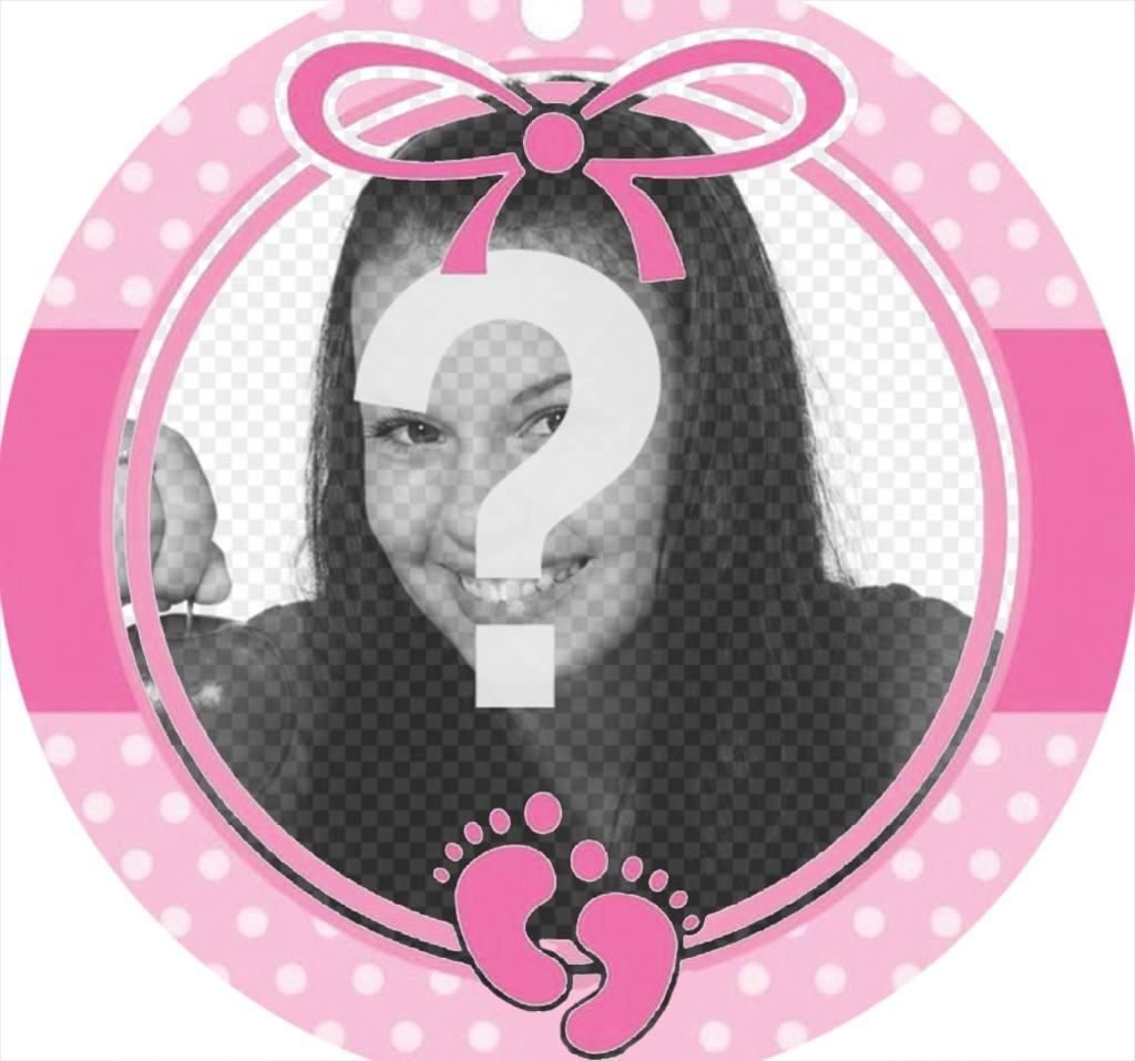 Marco circular color rosa para decorar la foto de una niña bebe ...
