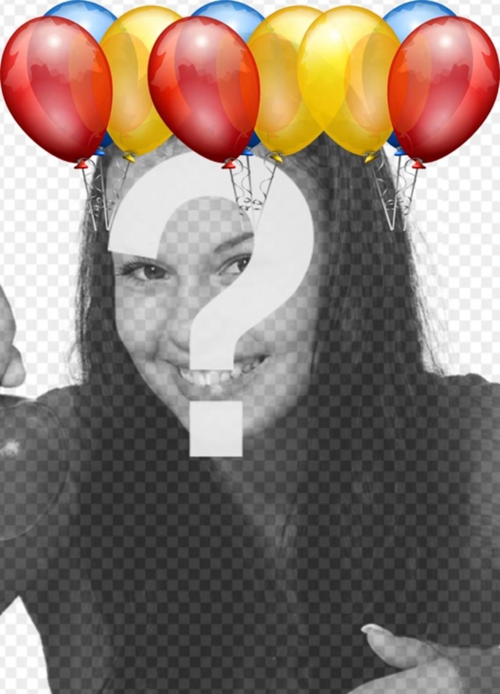 postal cumpleanos globos colores poner foto fondo