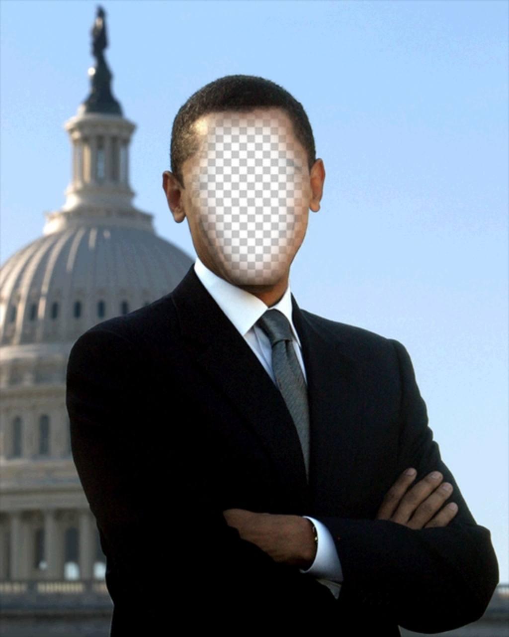 Fotomontaje de Barack Obama, presidente de USA para poner tu foto