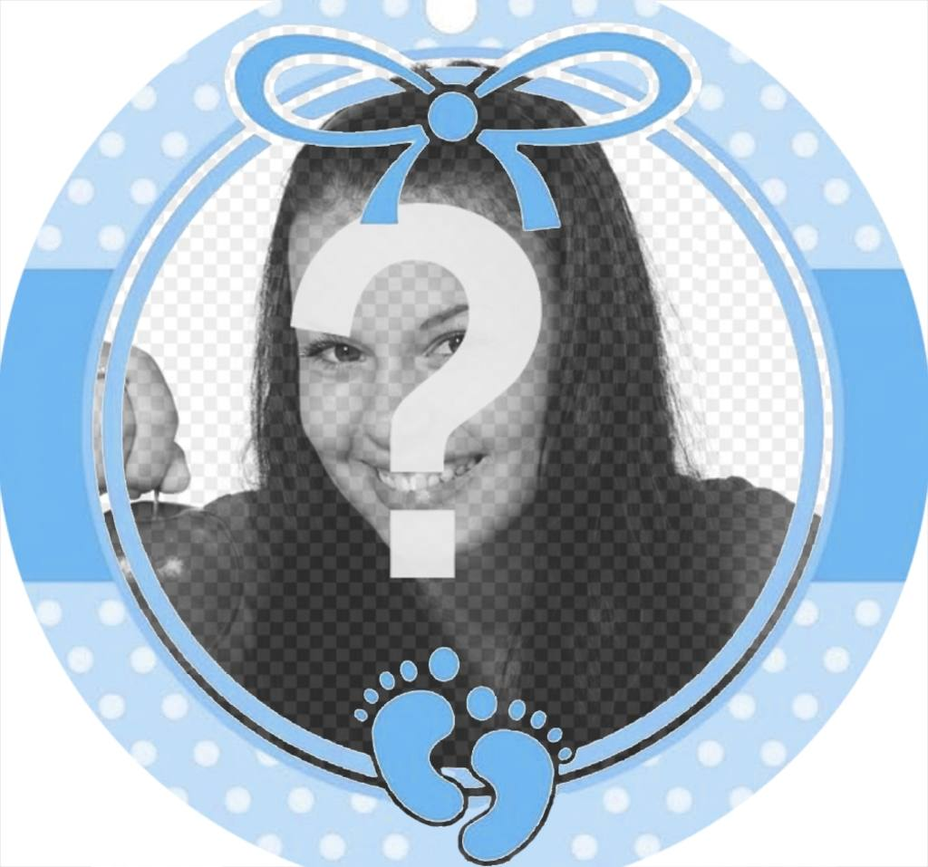 marco circular azul perfecto anadir foto un bebe