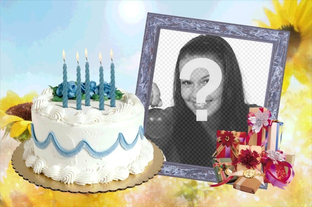 Marco para fotos con pastel de cumpleaños y regalos - Fotoefectos
