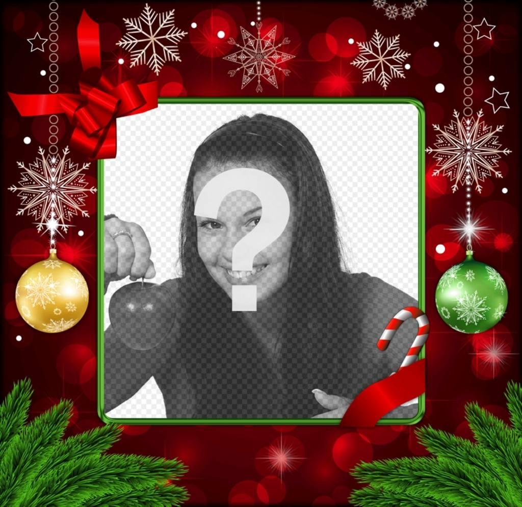 Marco para fotos navide o de color rojo con decoraciones - Decoracion de marcos para fotos ...