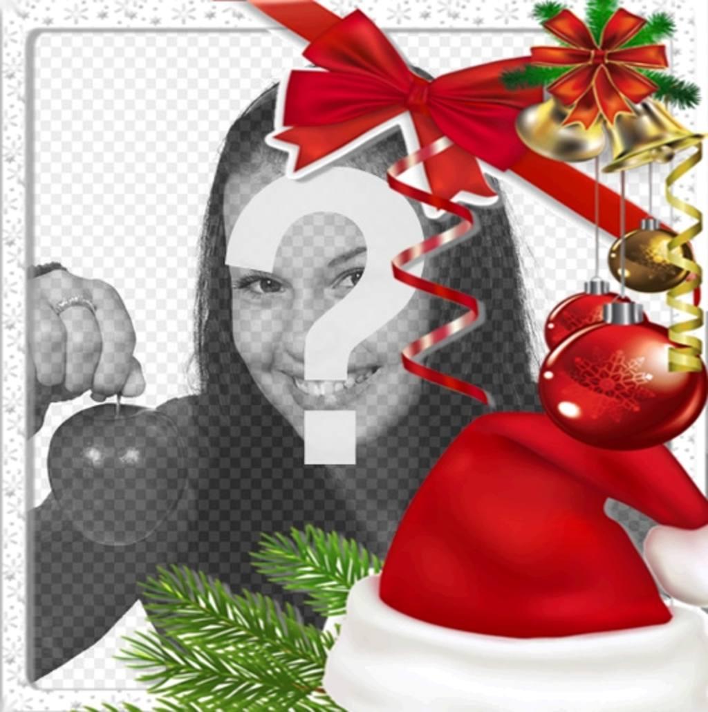 pon foto marco navidad decorado un gorro santa claus un lazo roja decoraciones tipicas arbol navidad