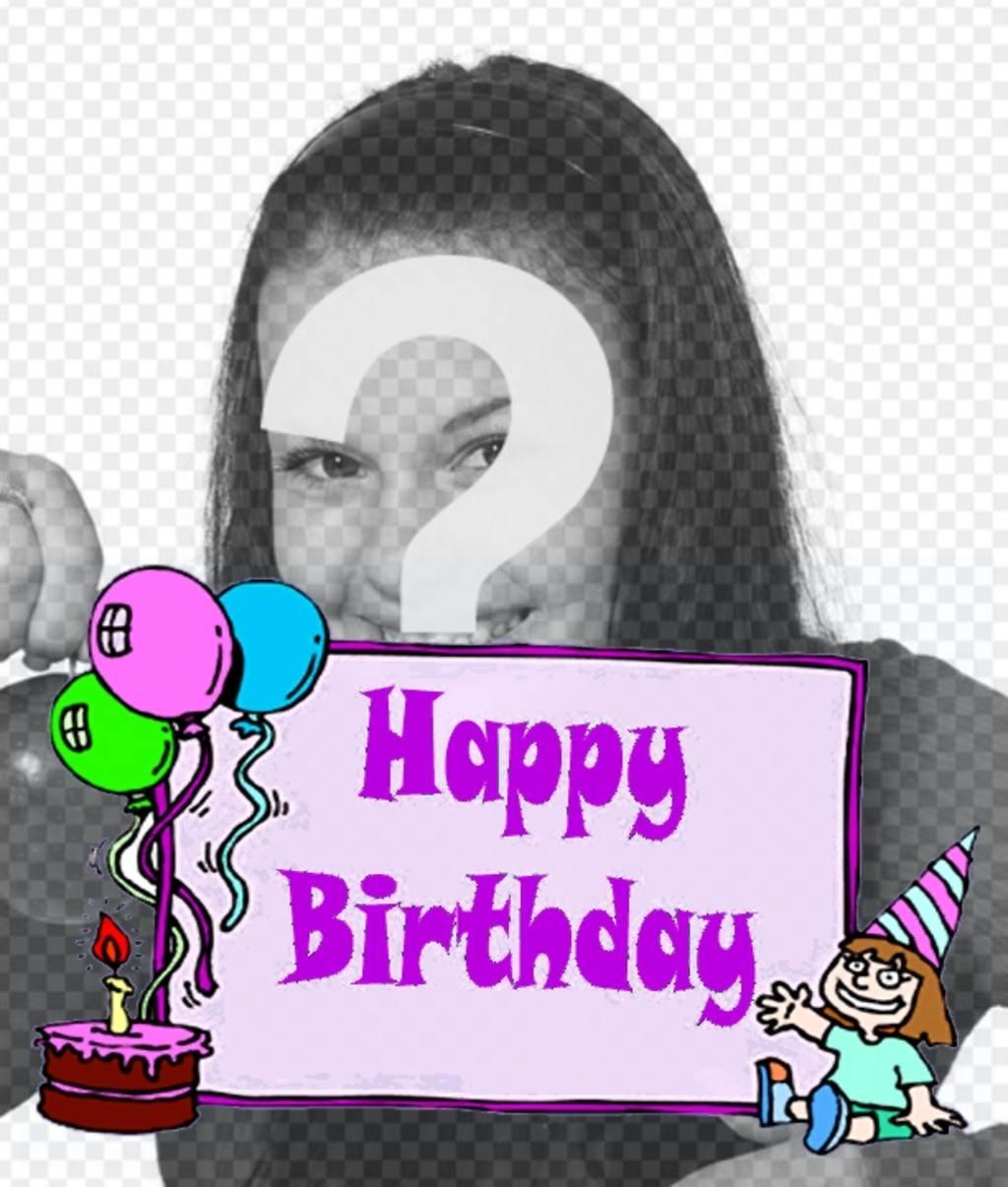 postal cumpleanos nina texto *happy birthday* un pastel globos foto