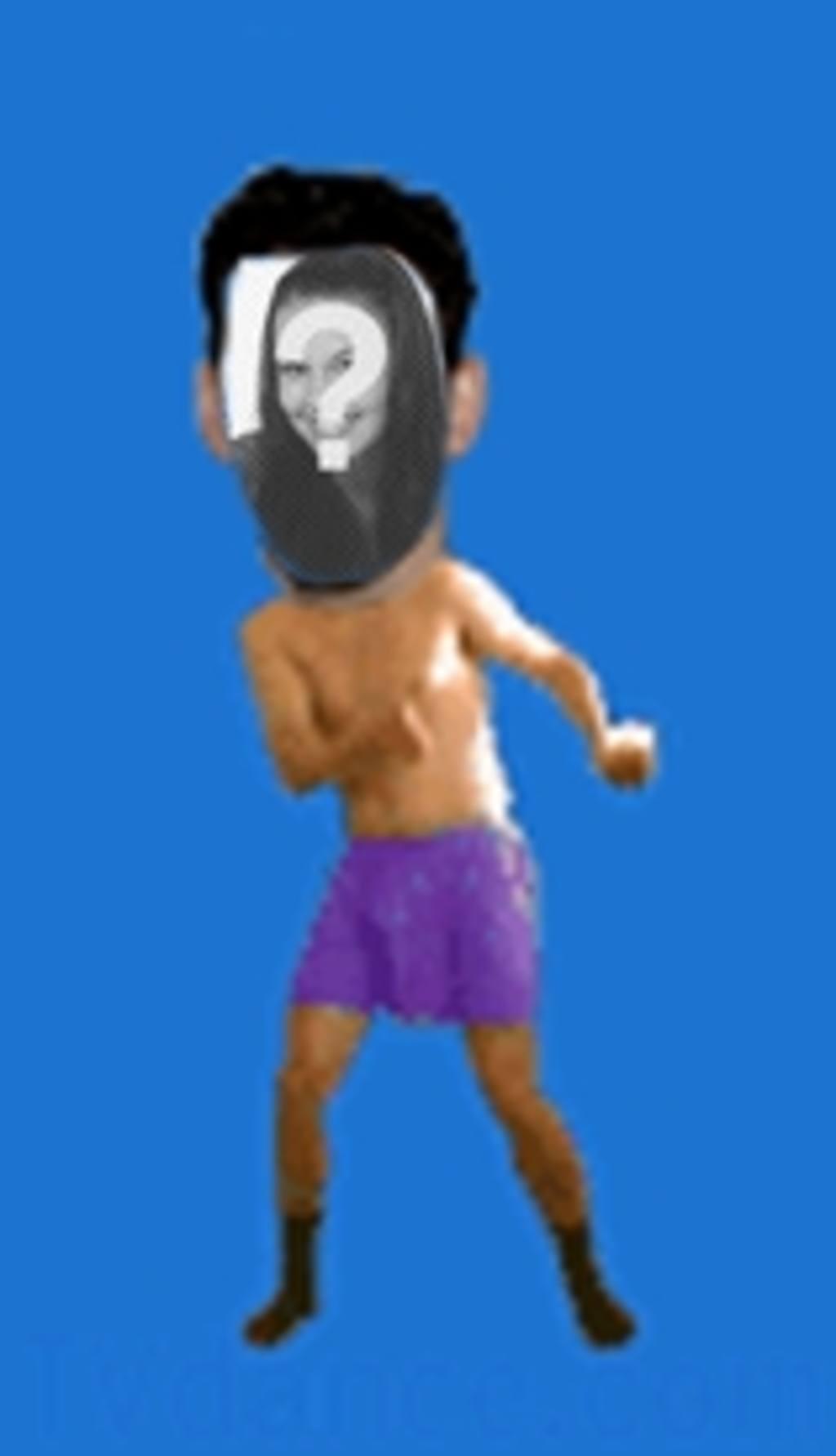 Animación de un hombre en calzoncillos bailando el boogie en la que insertar la cara de tu elección