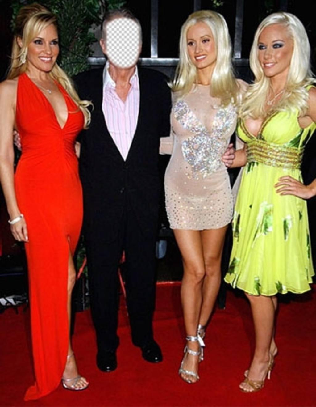 Fotomontaje editable del dueño de la famosa revista Playboy con las chicas
