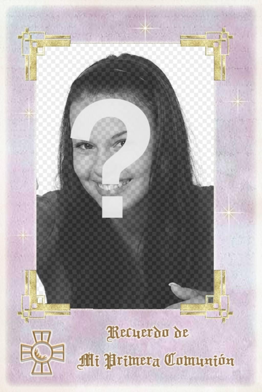 plantilla gratis recuerdo primera comunion marco rectangular letras oro poner foto descarga tarjeta recordatorio o enviala correo electronico