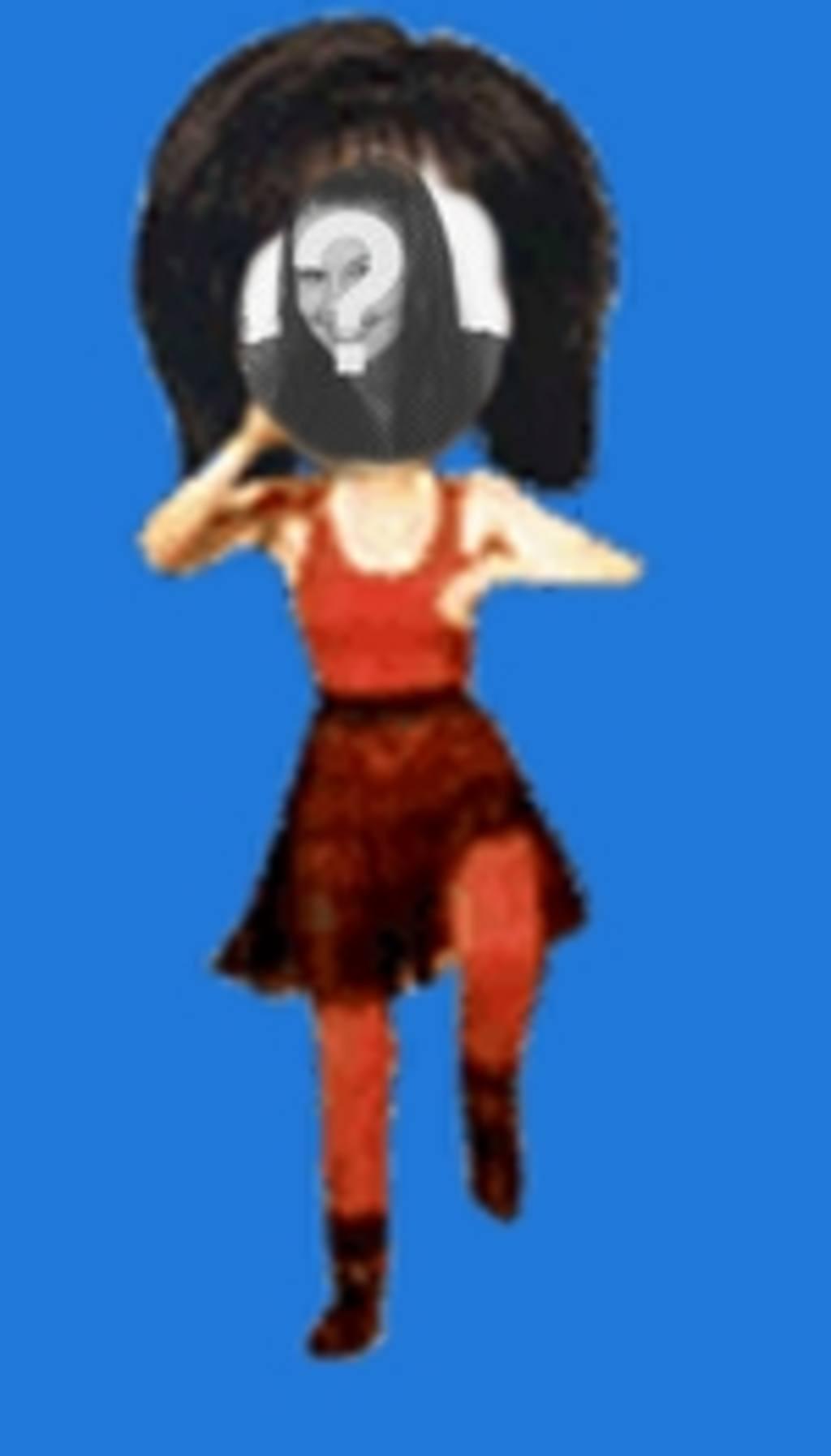 Pon tu cara en el cuerpo de una mujer de rojo bailando estilo caricatura