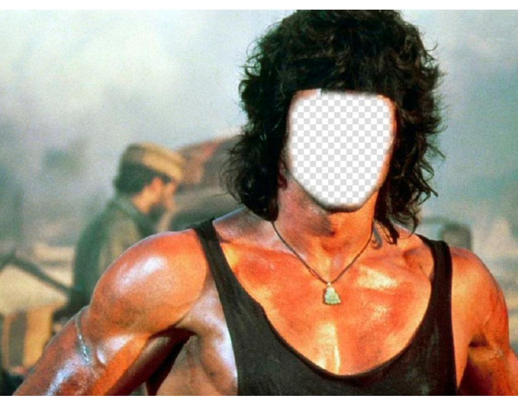 Fotomontaje en el que pondrás la cara que quieras en el cuerpo de Rambo