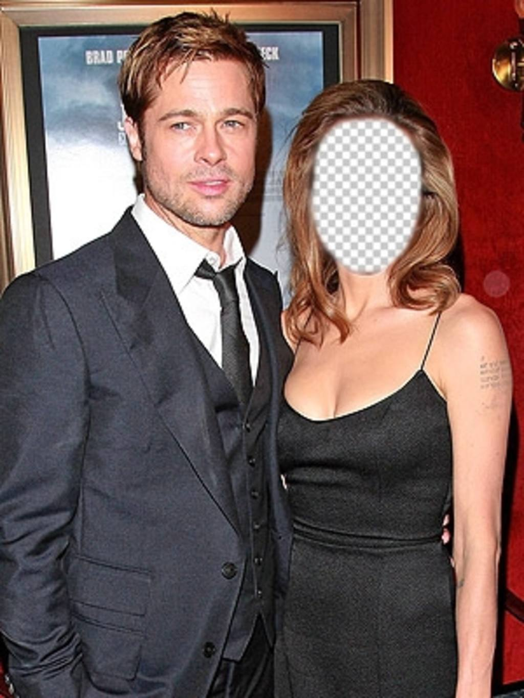Montaje para editar con tu foto y ser Angelina Jolie junto a Brad Pitt