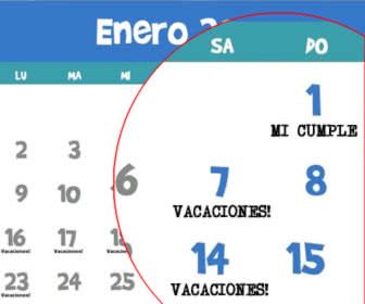 personaliza las fechas del calendario, vacaciones, festivos o cumpleaños