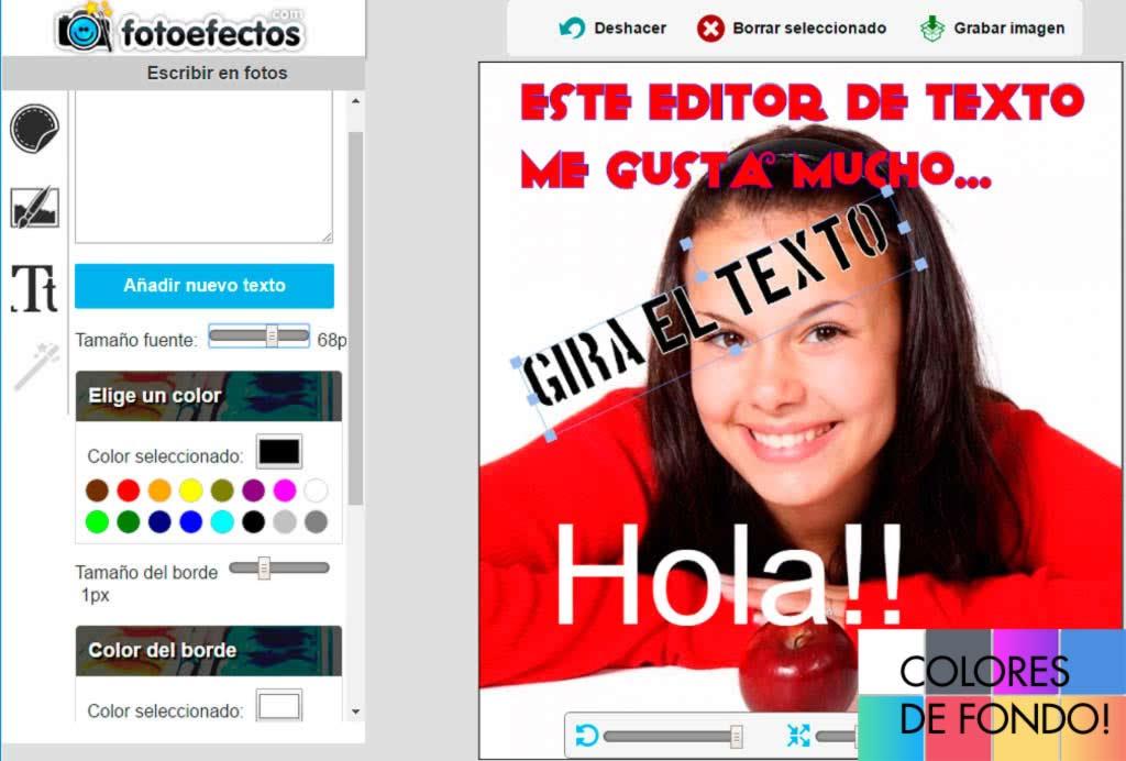 Editor para escribir texto en fotos